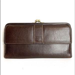 Vintage Coach Leather Kiss Lock Wallet